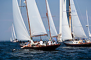 Goldeneye and Pandora sailing in race one at the Museum of Yachting Classic Yacht Regatta.
