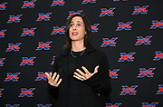 XFL Los Angeles team president Heather Brooks Karatz speaks during a news conference, Tuesday, May 7, 2019, in Los Angeles. Play will begin in the eight-team league on Feb. 8-9, 2020 with teams in Dallas, Houston, Los Angeles, New York, St. Louis, Seattle , Tampa Bay and Washington D.C.
