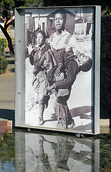 May 24, 2016 - Johannesburg, South Africa - The Hector Pieterson memorial in a park in Soweto in Johannesburg, South Africa, 24 May 2016. On 16 June 1976, 12-year-old Hector was shot by policemen. 15,000 students demonstrated against the introduction of Afrikaans as the official language at the schools in South Africa. Afrikaans used to be the language of the white, the suppressed black population was hardly able to speak it and expected further discrimation. The nationwide protests started in Soweto. PHOTO: JULIA NAUE/dpa (Credit Image: © Julia Naue/DPA via ZUMA Press)