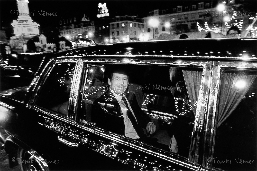 Spain, 12 December 1990 - Madrid.Driving through the streets of the Spanish capital during a private part of a state visit .