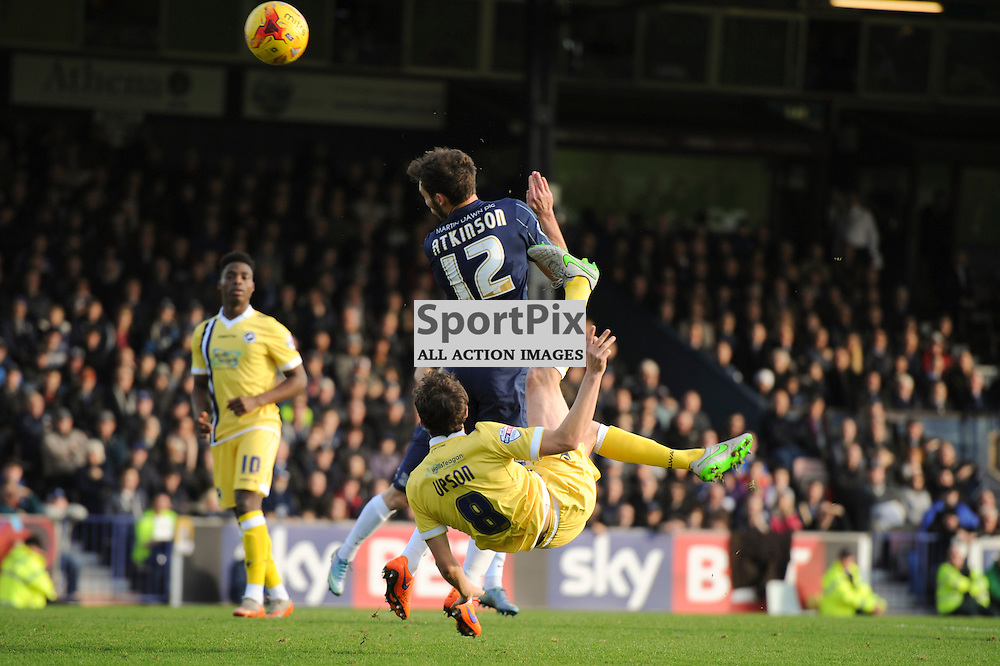 Millwalls Ed Upson attempts an overhead kick during the Southend v Millwall game in the Sky Bet League 1 on the 28th December 2015.