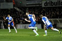 Bristol Rovers' Andy Monkhouse celebrates his goal. - Photo mandatory by-line: Dougie Allward/JMP - Mobile: 07966 386802 - 20/03/2015 - SPORT - Football - England - Memorial Stadium - Bristol Rovers v Aldershot - Vanarama Football Conference