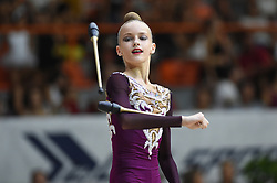 July 28, 2018 - Chieti, Abruzzo, Italy - Junior Rhythmic gymnast Melaniia Tur of Ukraine performs her clubs routine during the Rhythmic Gymnastics pre World Championship Italy-Ukraine-Germany at Palatricalle on 29th of July 2018 in Chieti Italy. (Credit Image: © Franco Romano/NurPhoto via ZUMA Press)