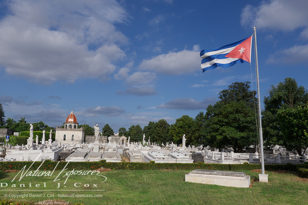 The Cuban flag flies over the Christopher Columbus Cemetery in Havana, Cuba.