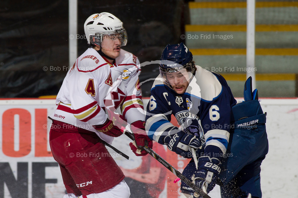 23 November 2013:  Shay Laurent (4) of the Chiefs and Mitch McLain  during a game between the Chilliwack Chiefs and the Langley Rivermen at Prospera Centre, Chilliwack, BC.    Final Score: Chilliwack 0 Langley 4   ****(Photo by Bob Frid - All Rights Reserved 2013): mobile: 778-834-2455 : email: bob.frid@shaw.ca ****