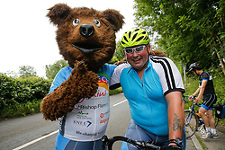 Brizzly bear and Chalky Meek look on as Cyclists reach the top of Bannerdown Hill as they take part in Break The Cycle, a 111 mile charity bike ride organised by the Bristol Rugby and Gloucester Rugby Community Foundations - Mandatory byline: Rogan Thomson/JMP - 03/07/2016 - CYCLING - Bannerdown Road - Bath, England - Break The Cycle Challenge 2016.