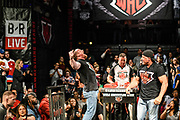 Baltimore, Maryland - May 17, 2018: World Armwrestling League middleweight Jordan Sill, left, celebrates after defeating Craig Tullier during the World Armwrestling League Supermatch Showdown Series at Rams Head Live in Baltimore, Thursday May 17th, 2018. Bleacher Report Live is the exclusive broadcaster of the event. With the recent advent of online video streaming services, niche sporting leagues are now able to sign broadcast deals. <br /> <br /> <br /> CREDIT: Matt Roth for The New York Times<br /> Assignment ID: 30219819A