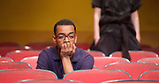 The Flick <br /> by Annie Baker <br /> at the Dorfman Theatre, National Theatre, Southbank, London, Great Britain <br /> 18th April 2016 <br /> <br /> <br /> Jaygann Ayeh as Avery <br /> <br /> <br /> <br /> Photograph by Elliott Franks <br /> Image licensed to Elliott Franks Photography Services
