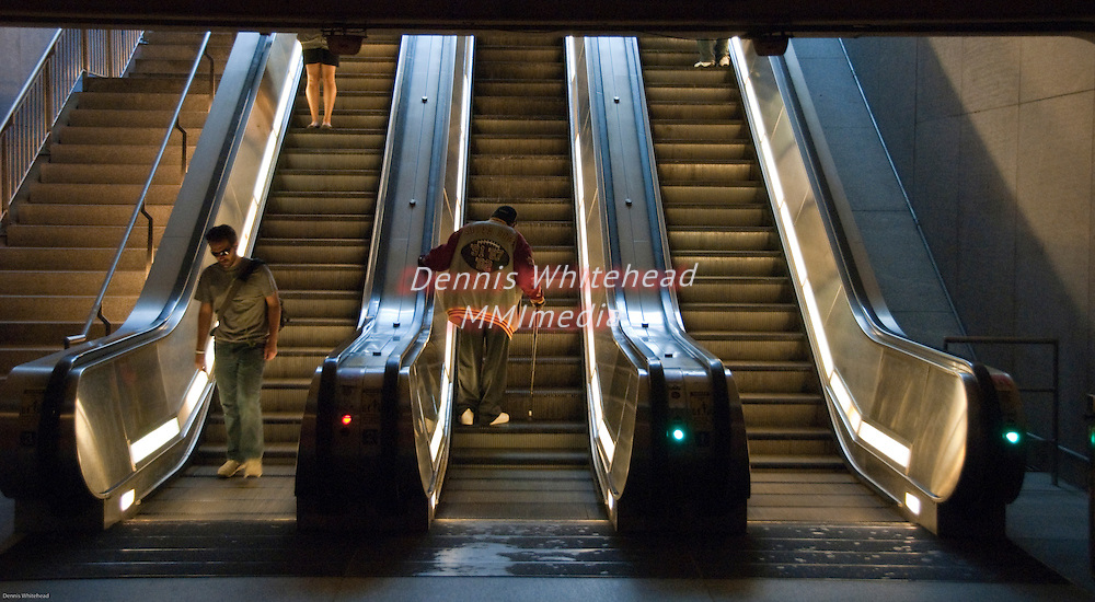 A bank of escalators in the Washington DC Metro