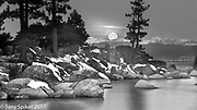 """Moonset at Sand Harbor 3"" - The moon sets as the sun rises at Sand Harbor on the Eastern shore of Lake Tahoe"