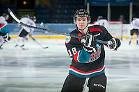 KELOWNA, CANADA - NOVEMBER 22: Tate Coughlin #18 of Kelowna Rockets warms up against the Portland Winterhawks on November 22, 2014 at Prospera Place in Kelowna, British Columbia, Canada.  (Photo by Marissa Baecker/Shoot the Breeze)  *** Local Caption *** Tate Coughlin;