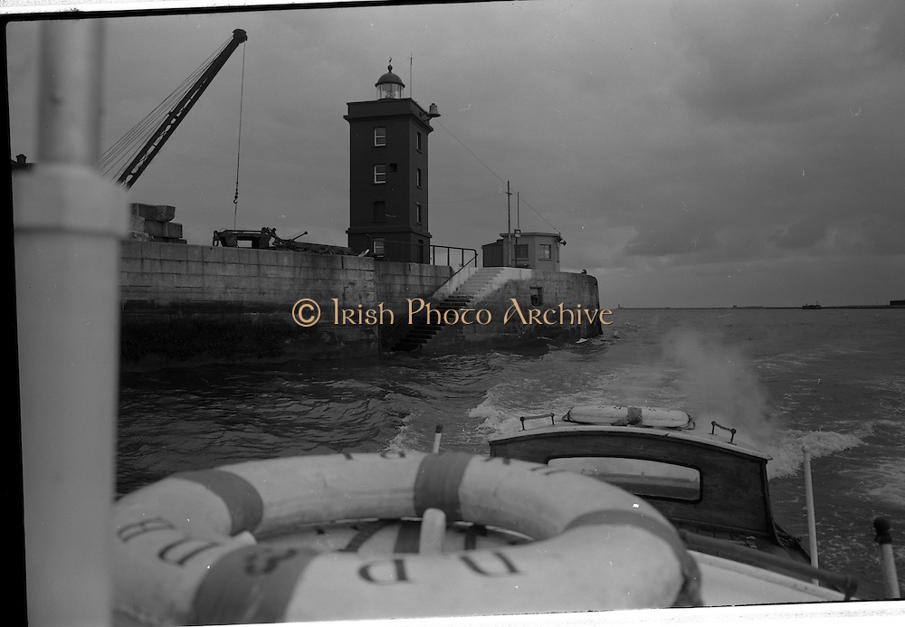 08/03/1964<br /> 03/08/1964<br /> 08 March 1964<br /> Views at the port of Dublin. View of harbour entrance from a boat on the Liffey.