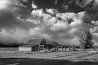 The John Moulton Barn in monochrome in Grand Teton National Park on a cold Fall day.