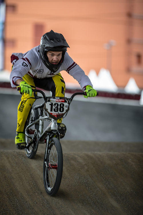 #138 (STRAZDINS Mikus) LAT at Round 5 of the 2019 UCI BMX Supercross World Cup in Saint-Quentin-En-Yvelines, France