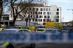 April 18, 2018 - Manchester, Greater Manchester, UK - Manchester, UK. Buildings are evacuated and streets closed off by police amid reports of a chemical spill at a building belonging to the Manchester Institute of Biotechnology on Princess Street in Manchester City Centre  (Credit Image: © Joel Goodman/London News Pictures via ZUMA Wire)