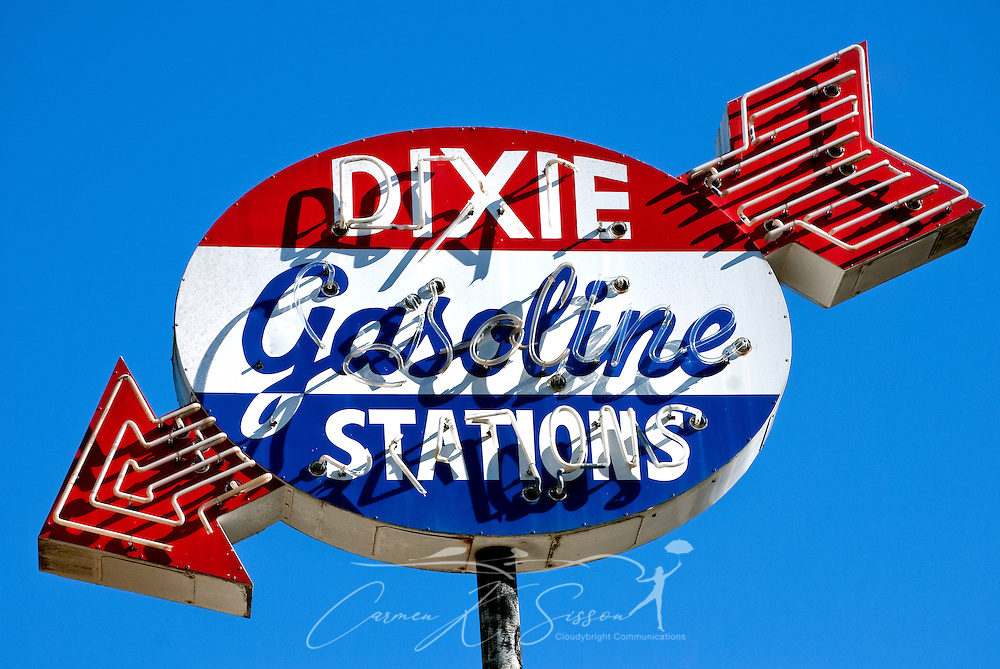 A Dixie Gasoline signs advertises a long-closed business on Fifth Street in Meridian, Mississippi. Photo by Carmen K. Sisson/Cloudybright)