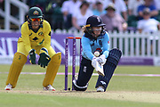 Tammy Beaumont of England (12) sweeps the ball for more runs during the Royal London Women's One Day International match between England Women Cricket and Australia at the Fischer County Ground, Grace Road, Leicester, United Kingdom on 4 July 2019.