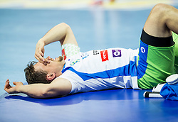 Darko Cingesar of Slovenia injured during handball match between National teams of Germany and Slovenia on Day 6 in Preliminary Round of Men's EHF EURO 2016, on January 20, 2016 in Centennial Hall, Wroclaw, Poland. Photo by Vid Ponikvar / Sportida