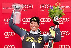 Winner KOSTELIC Ivica  of Croatia celebrates at trophy ceremony after the 10th Men's Slalom - Pokal Vitranc 2013 of FIS Alpine Ski World Cup 2012/2013, on March 10, 2013 in Vitranc, Kranjska Gora, Slovenia. (Photo By Vid Ponikvar / Sportida.com)