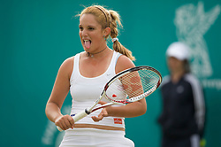 LIVERPOOL, ENGLAND - Tuesday, June 10, 2008: Tamaryn Hendler (BEL) during the Women's Singles match on the opening day of the Tradition-ICAP Liverpool International Tennis Tournament at Calderstones Park. (Photo by David Rawcliffe/Propaganda)