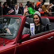 Francesca Miles is a Miss Central London join thousands of people braved dreadful weather in central London for the capital's annual New Year's Day parade, January 1st 2018, London, UK.