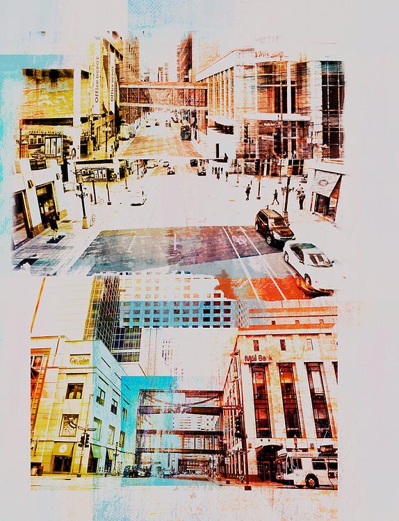 Urban Photo Montage of Minneapolis Streets