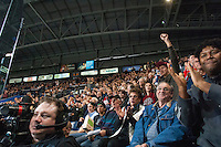 KELOWNA, CANADA - NOVEMBER 1:  Fans of the Kelowna Rockets celebrate a goal against the Kamloops Blazers at the Kelowna Rockets on November 1, 2012 at Prospera Place in Kelowna, British Columbia, Canada (Photo by Marissa Baecker/Shoot the Breeze) *** Local Caption ***