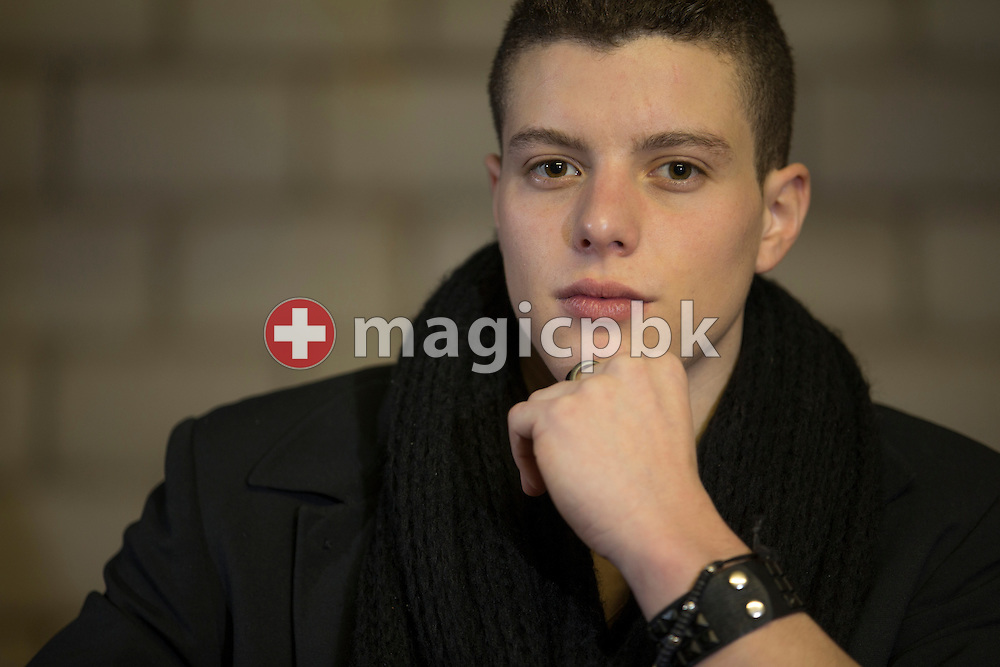 Swiss gymnast Lucas FISCHER, who has been diagnosed with epilepsy, poses for a photo before performing during a musical interlude at the Swiss Championships in Aerobic in Aarau, Switzerland, Sunday, Dec. 9, 2012. As compensation for his illness and the professional sports (gymnastics) Lucas Fischer discovered singing. (Photo by Patrick B. Kraemer / MAGICPBK)