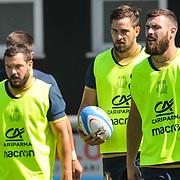 Calvisano 24/05/2018 <br /> Allenamento nazionale italiana di rugby<br /> Guglielmo Palazzani , Mattia Bellini e Jayden Hayward