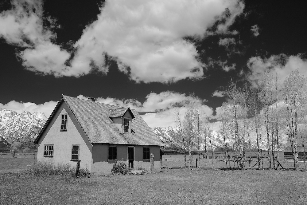 Mormon Row Homestead - Grand Tetons, WY - Infrared Black & White