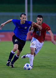 Stanislav Kitto vs Rusmin Dedic of Rudar at 1st Round of Europe League football match between NK Rudar Velenje (Slovenia) and Trans Narva (Estonia), on July 9 2009, in Velenje, Slovenia. Rudar won 3:1 and qualified to 2nd Round. (Photo by Vid Ponikvar / Sportida)