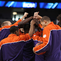 Mar 17, 2011; Tampa, FL, USA; Clemson Tigers players huddle up before the start against the West Virginia Mountaineers in the second round of the 2011 NCAA men's basketball tournament at the St. Pete Times Forum.  Mandatory Credit: Derick E. Hingle