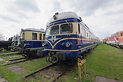 "Strasshof, Austria.<br /> Opening of the season at Das Heizhaus - Eisenbahnmuseum Strasshof, Lower Austria's newly designated competence center for railway museum activities.<br /> ÖBB 4145 ""Blauer Blitz (Blue Lightning)"", 1952-1962."