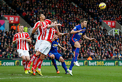 Michael Carrick of Manchester United watches as a cross comes in before heading it to set up a goal for Radamel Falcao to make it 1-1 - Photo mandatory by-line: Rogan Thomson/JMP - 07966 386802 - 01/01/2015 - SPORT - FOOTBALL - Stoke-on-Trent, England - Britannia Stadium - Stoke City v Manchester United - New Year's Day Football - Barclays Premier League.