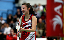 Emily Westwood of Bristol Jets gets the giggles during the women's doubles - Photo mandatory by-line: Robbie Stephenson/JMP - 06/02/2017 - BADMINTON - SGS Wise Arena - Bristol, England - Bristol Jets v Surrey Smashers - AJ Bell National Badminton League