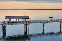 Waterfront boardwalk of Boulevard Park along Bellingham Bay, Bellingham Washington USA