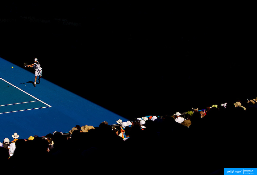 Andy Roddick of the USA on his way to victory over Novak Djokovic of Serbia at the Australian Tennis Open on January 27, 2009 in Melbourne, Australia. Photo Tim Clayton    .