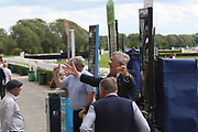 The bookies shout out the odds during Uttoxeter Races at Uttoxeter Racecourse, Uttoxeter, United Kingdom on 30 July 2017. Photo by John Potts.