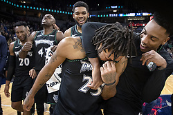 October 31, 2018 - Minneapolis, MN, USA - The Minnesota Timberwolves' Derrick Rose is surrounded by teammates at the end of the game after he scored a career-high 50 points against the Utah Jazzat the Target Center in Minneapolis on Wednesday, Oct. 31, 2018. The Timberwolves won, 128-125. (Credit Image: © Carlos Gonzalez/Minneapolis Star Tribune/TNS via ZUMA Wire)