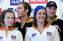 Vanja Brodnik, Rok Perko, Petra Robnik and Andrej Sporn of Slovenian Alpine Ski Team before new season 2008/2009, on Septembra 25, 2008, Ljubljana, Slovenia. (Photo by Vid Ponikvar / Sportal Images)