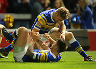 Tom Briscoe (Bottom) of Leeds Rhinos celebrates scoring his 2nd try of the game with team mate Jimmy Keinhorst (Top) against Salford Red Devils during the Super 8s Qualifiers match at Emerald Headingley Stadium, Leeds<br /> Picture by Stephen Gaunt/Focus Images Ltd +447904 833202<br /> 14/09/2018