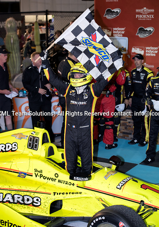 AVONDALE, AZ - APRIL 29: Team Penske driver Simon Pagenaud (1) of France celebrates in Victory Lane after winning the Verizon IndyCar Desert Diamond West Valley Phoenix Grand Prix on April 29, 2017, at Phoenix International Raceway in Avondale, AZ. (Photo by Carlos Herrera/Icon Sportswire)