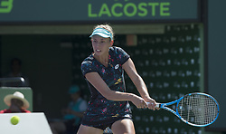 March 25, 2018 - Miami, FL, United States - KEY BISCAYNE, FL - March, 25: Elise Mertens (BEL) in action here loses 26 16 to Johanna Konta(GBR) at the 2018 Miami Open held at the Tennis Center at Crandon Park. (Photo Credit: Andrew Patron)   Credit: Andrew Patron/Zuma Wire (Credit Image: © Andrew Patron via ZUMA Wire)