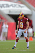 Washington Redskins kicker Kai Forbath (2) prior to an NFL preseason game against the Tampa Bay Buccaneers at Raymond James Stadium on Aug. 29, 2013 in Tampa, Florida. <br /> <br /> &copy;2013 Scott A. Miller