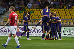 Players of Maribor are celebrating a goal during 2nd Leg Football match between NK Maribor (SLO) and Valur Reykjavík (ISL) in First qualifying round of UEFA Champions League 2019/20, on July 17, 2019, in Stadium Ljudski vrt, Maribor, Slovenia. Photo by Milos Vujinovic / Sportida