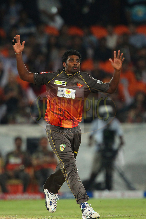 Thisara Perera reacts after bowling during match 54 of the Pepsi Indian Premier League between The Sunrisers Hyderabad and Chennai Superkings held at the Rajiv Gandhi International  Stadium, Hyderabad  on the 8th May 2013..Photo by Ron Gaunt-IPL-SPORTZPICS ..Use of this image is subject to the terms and conditions as outlined by the BCCI. These terms can be found by following this link:..http://www.sportzpics.co.za/image/I0000SoRagM2cIEc