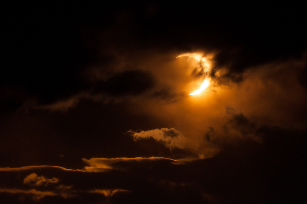 This is the solar eclipse of 2012 as seen from Denver Colorado<br /> <br /> Camera <br /> NIKON D5000<br /> Lens <br /> 70.0-300.0 mm f/4.5-5.6<br /> Focal Length <br /> 300<br /> Shutter Speed <br /> 1/4000<br /> Aperture <br /> 32<br /> ISO <br /> 200