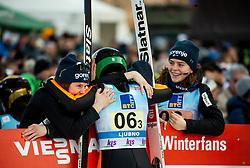..., Nika Kriznar of Slovenia and Jerneja Brecl of Slovenia celebrate during Team Competition at Day 2 of World Cup Ski Jumping Ladies Ljubno 2019, on February 9, 2019 in Ljubno ob Savinji, Slovenia. Photo by Matic Ritonja / Sportida