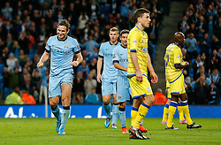 Frank Lampard of Manchester City celebrates scoring a 2nd goal to make it 7-0 - Photo mandatory by-line: Rogan Thomson/JMP - 07966 386802 - 24/08/2014 - SPORT - FOOTBALL - Manchester, England - Etihad Stadium - Manchester City v Sheffield Wednesday - Capital One Cup, Third Round.