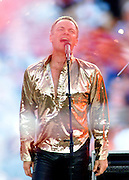 Musical star Sting performs prior to the start of Super Bowl XXXV at Raymond James Stadium in Tampa, January 28, 2001. Colin Braley/Stock
